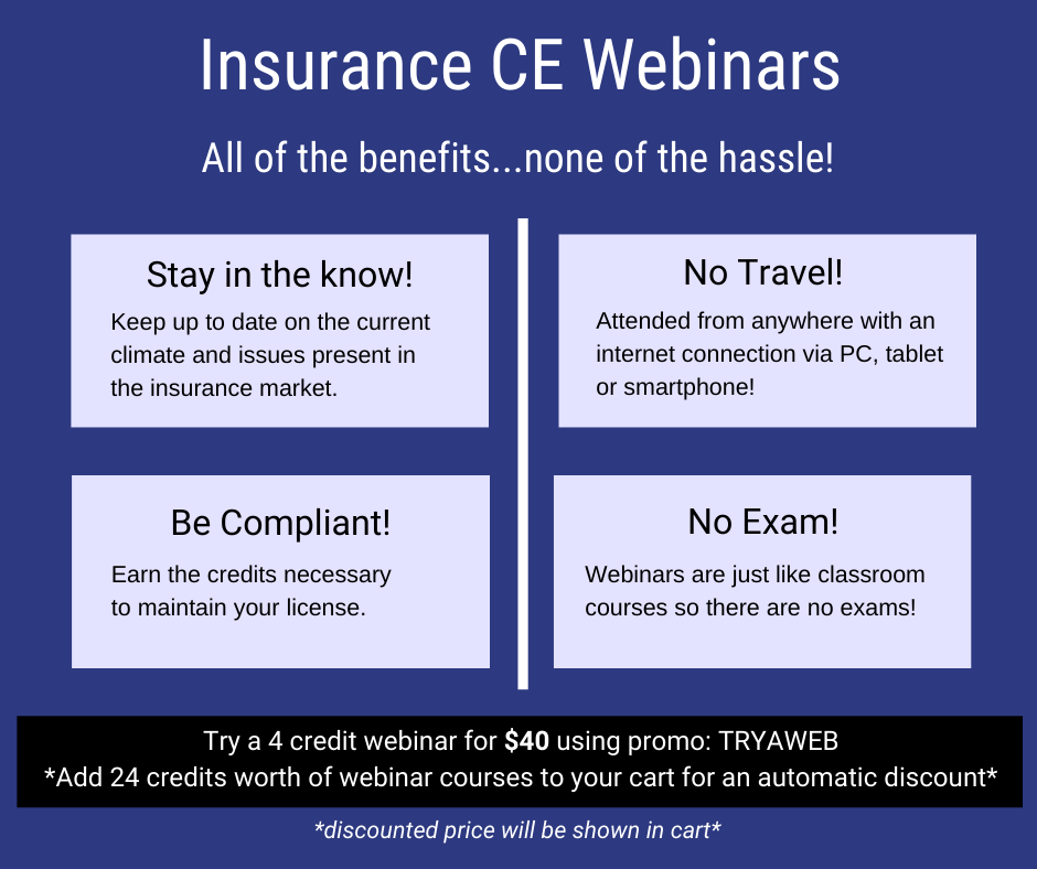 Insurance continuing education webinars are live insurance courses with no exam.